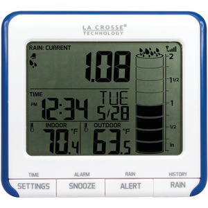 LA CROSSE TECHNOLOGY Digital Rain Gauge with Outdoor Temperature Sensor 724-1710