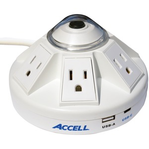 ACCELL(R) Powramid(R) C Power Center Surge Protector with USB-A and USB-C(TM) Charging Station (White) D080B-032K