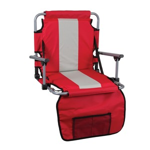 STANSPORT(R) Tubular Frame Folding Stadium Seat with Arms (Red/Tan) G-8-60