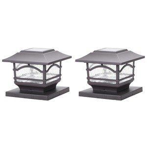 MAXSA(R) INNOVATIONS Solar Post Cap and Deck Railing Lights 2 Pack (Dark Bronze) 41671