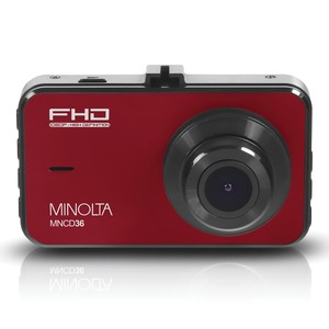 MINOLTA(R) MNCD36 1080p Full HD Dash Camera with 3-Inch LCD Screen (Red) MNCD36-R