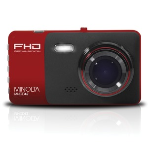 MINOLTA(R) MNCD42 1080p Full HD Dash Camera with 4-Inch LCD Screen (Red) MNCD42-R