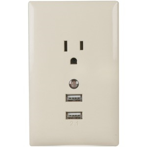 Wall Plate USB Charger with Night Light (Almond)
