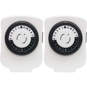 24-Hour Polarized Plug-In Mechanical Timer with 48 On-Off & 1 Outlet (White 2 pk)