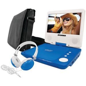 SYLVANIA Sylvania SDVD7060-Combo-Blue 7-Inch Portable DVD Player Bundle with Matching Oversize Headphones and Deluxe Travel Bag (Blue) SDVD7060-COMBO-BLUE