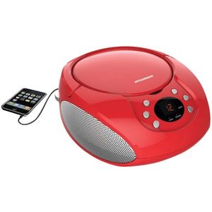 SYLVANIA Portable CD Player with AM-FM Radio (Red) SRCD261-B-RED