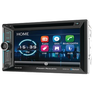 POWER ACOUSTIK 6.2 inch. Incite Double-DIN In-Dash DVD Receiver with Bluetooth(R) PD-623B
