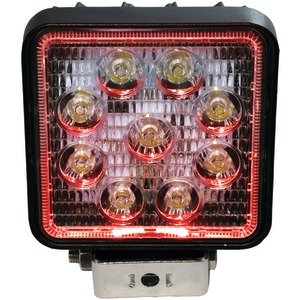 RACE SPORT 4 inch. Square 27-Watt 1,755-Lumen LED Spotlight with Halo (Red) RS27W4R