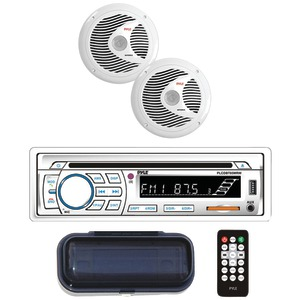 Marine Single-DIN In-Dash CD AM/FM Receiver with Two 6.5
