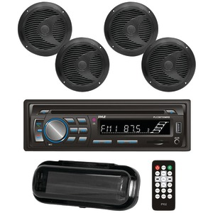 Marine Single-DIN In-Dash CD AM/FM Receiver with Four 6.5