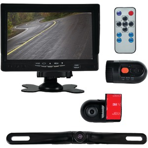 PYLE Monitor System with 2 Interior DVR Dash Cams & License-Plate Camera PLCMDVR72