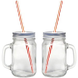 STARFRIT GOURMET Mason Jar Mugs, 2 pk with Straws 080049-006-0000