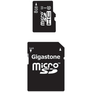 GIGASTONE UHS-1 CL10 Micro SDHC Card & SD Adapter with up to 48Mbps Transfer Rates 8GB GS-2IN1C1008G-R