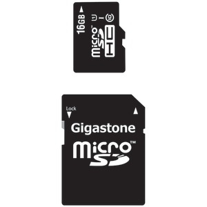 GIGASTONE UHS-1 CL10 Micro SDHC Card & SD Adapter with up to 48Mbps Transfer Rates 16GB GS-2IN1C1016G-R