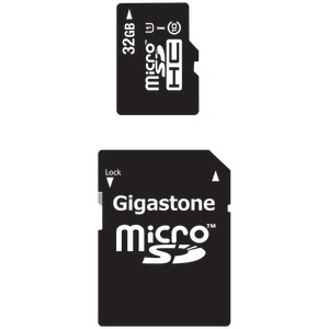 GIGASTONE UHS-1 CL10 Micro SDHC Card & SD Adapter with up to 48Mbps Transfer Rates 32GB GS-2IN1C1032G-R