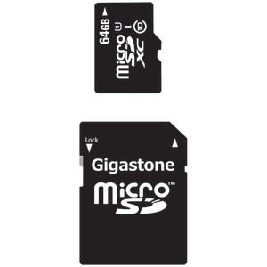 GIGASTONE UHS-1 CL10 Micro SDXC Card & SD Adapter with up to 48Mbps Transfer Rates 64GB GS-2IN1X1064G-R