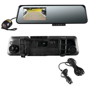 PYLE HD Rearview Mirror Monitor & Dual Camera System with Built-in Distance-Scale Lines & Parking Assist PLCMDVR42