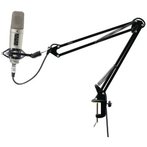 PYLE PRO Universal Table Clamp Boom Shock Microphone Mount PMKSH01