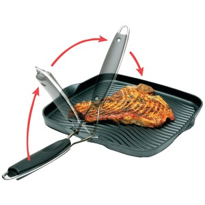 STARFRIT 10 inch. x 10 inch. Grill Pan with Foldable Handle 30036-006-SPEC