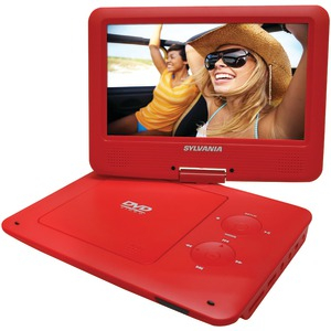 SYLVANIA Sylvania 9-Inch Swivel Screen Portable DVD/CD/MP3 Player with 5 Hour Built-In Rechargeable Battery, USB/SD Card Reader, AC/DC Adapter, Red SDVD9020B-RED