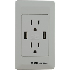 EZQUEST 2-Outlet 2-Port 2.1-Amp Plug & Charge USB Charger 15A-125V X73692