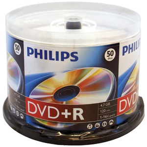 PHILIPS 4.7GB 16x DVD+R 50 pk Cake Box Spindle DR4S6B50F/17