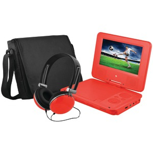 EMATIC 7 inch. Portable DVD Player Bundle (Red) EPD707RD