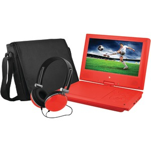 EMATIC 9 inch. Portable DVD Player Bundle (Red) EPD909RD