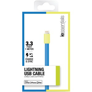 Flat Lightning(TM) Data Cable 3.3ft (Blue-Green)