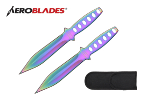 Aeroblades 2 Piece 7.5 inches Double Edged Throwing Knives Set w- Holes in Handle (Rainbow) A0009-2RW