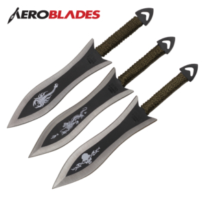 Aeroblades Set of 3 6.5 inches Paracord Wrapped Arrowhead Assorted Throwing Knives A28303