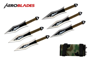 6 Piece 6.5 inches Two Toned Dragon Bladed Throwing Knives Set With Green Wrapped Handles And Camo Carrying Case