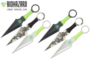 Biohazard 9 inches 6pcs set zombie throwing knife A8033-6-ASTD