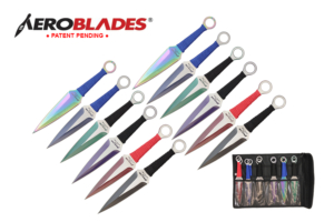Aeroblades 9 inch 12pc set two tone kunai throwing knife A9699-12-ASTD