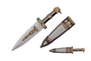 WJ 14 inches Roman Dagger With Eagle Head Designed Handle And Scabbard With Brass Colored Finish H-72