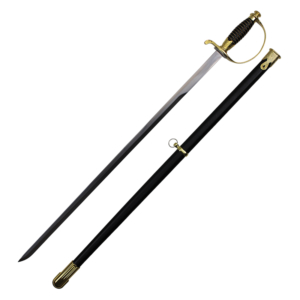 WJ 38 inches German Cavalry Sword With Gold Handle And Black Scabbard K-805