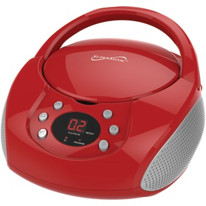 SUPERSONIC Bluetooth(R) Portable Audio System with CD Player (Red) SC-515BT-RED