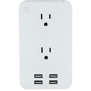 GENERAL ELECTRIC 2-Outlet Surge-Protector Wall Tap with 4 USB Ports 31708