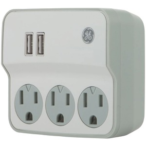 GENERAL ELECTRIC 3-Outlet Current Wall Tap with USB Port 32193