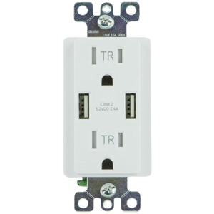GENERAL ELECTRIC 2-Outlet In-Wall Receptacle with 2 USB Ports 36064