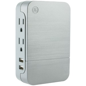 GENERAL ELECTRIC 2-Outlet Surge-Protector Wall Tap with 2 USB Ports 33642