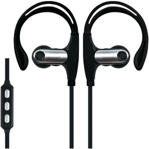 Sweatproof Bluetooth(R) Sport Earbuds with Microphone (Black)