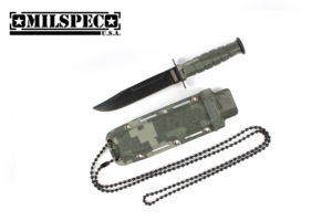 Milspec 6 inches Drop Point Neck Knife w-Sheath (Green Camo) YC9022-CMG