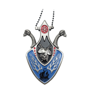 WJ Blue Pirate Skull and Shield With Hidden Blade and Necklace YC9027