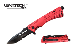 Wartech 8.5 inches Spring Assisted Knife w- Firestarter YC-S-9046-RD