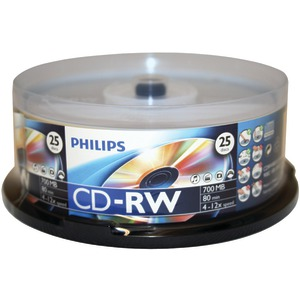 PHILIPS 700MB CD-RWs 25-ct Spindle CDRW8012/550
