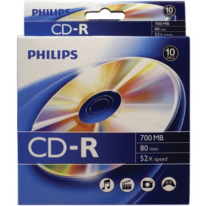 PHILIPS 700MB CD-Rs 10-ct Peggable Box CR7D5BB10/17