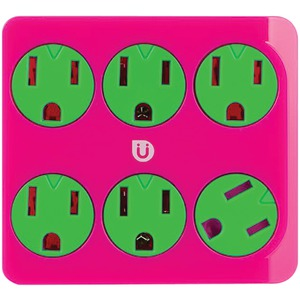GE Uber 6-Outlet Power Tap (Pink & Green) 25110