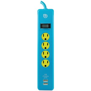 GE Uber 4-Outlet Power Strip 4ft Cord (Blue & yellow) 25117