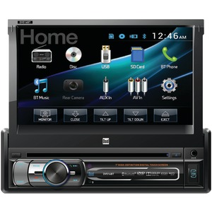 DUAL 7 inch. Single-DIN In-Dash DVD Receiver with Motorized Touchscreen & Built-in Bluetooth(R) DV516BT